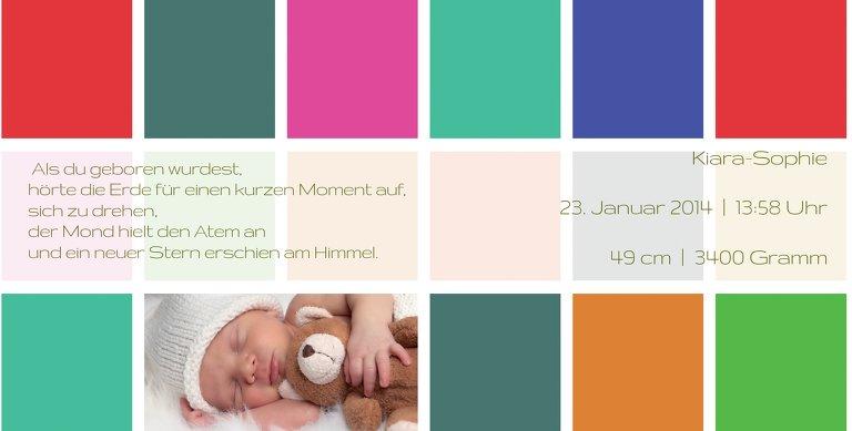 Ansicht 6 - Geburtskarte Bunte Würfel