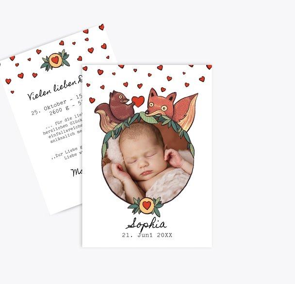 Baby Dankeskarte Waldtiere