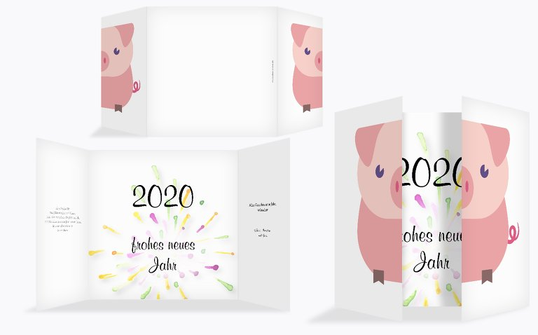 Neujahrskarte Glücksschwein