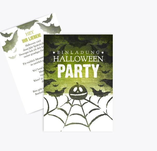 Halloweenkarte Spinnennetz