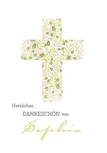 Ansicht 3 - Taufe Dankeskarte Blumenkreuz