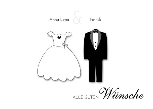 Ansicht 2 - Hochzeit Ballonkarte dress and suit