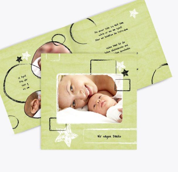 Dankeskarte zur Geburt Kreidepapier