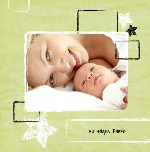 Ansicht 3 - Dankeskarte zur Geburt Kreidepapier