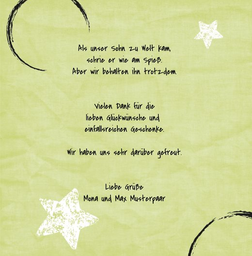 Ansicht 5 - Dankeskarte zur Geburt Kreidepapier