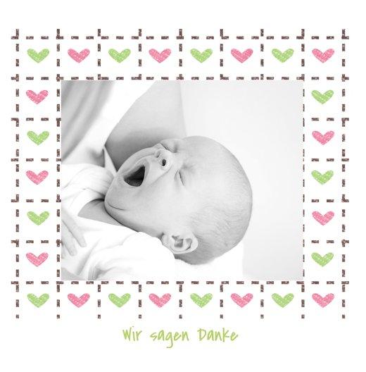 Ansicht 3 - Baby Dankeskarte Herzrahmen