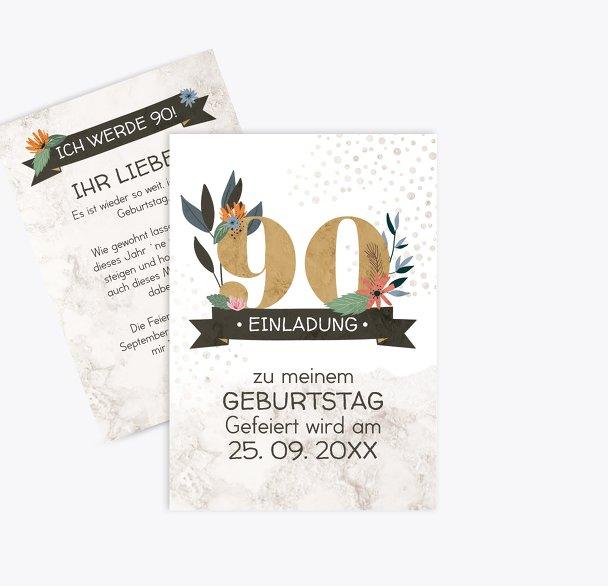 Geburtstagseinladung Blumenzahl 90