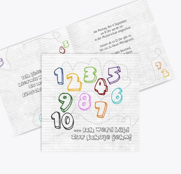 Einladung Einschulung eins bis zehn