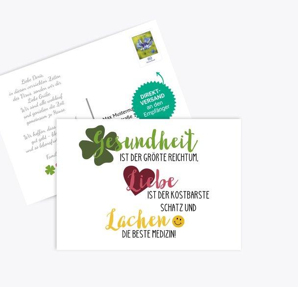 Spruchkarte Gesundheit Liebe Lachen