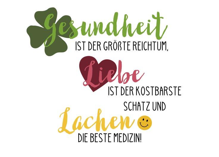 Ansicht 2 - Spruchkarte Gesundheit Liebe Lachen