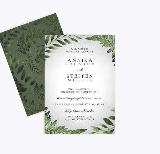Hochzeit Einladung Blätterwerk
