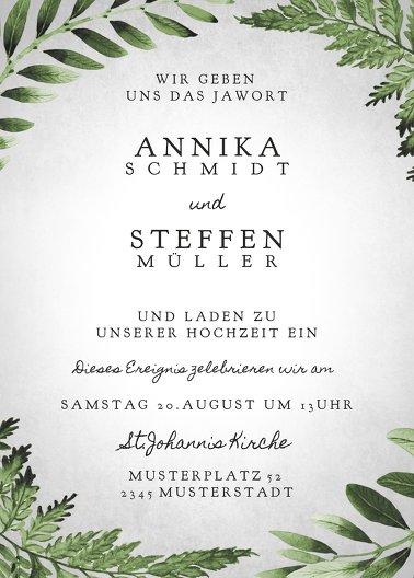 Ansicht 2 - Hochzeit Einladung Blätterwerk