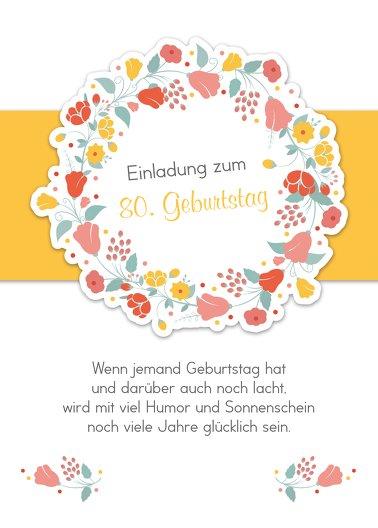 Ansicht 2 - Geburtstagseinladung Blumenkranz 80