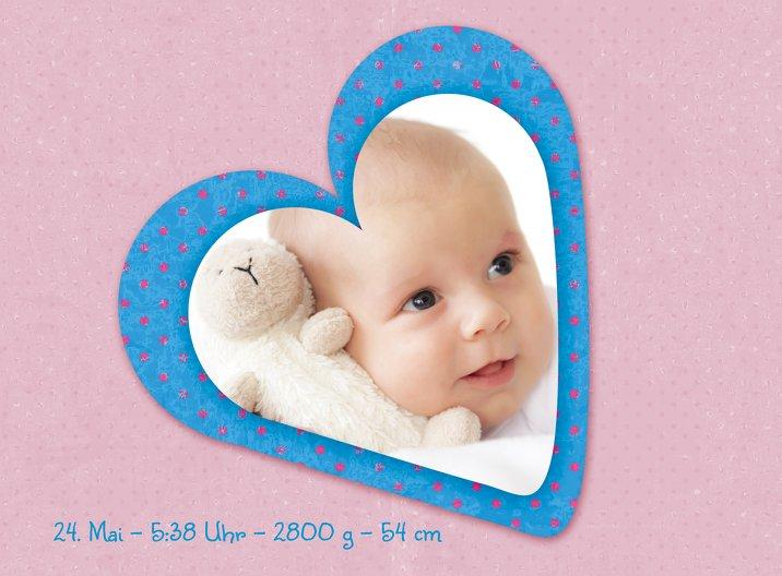 Ansicht 6 - Geburtskarte Herzform