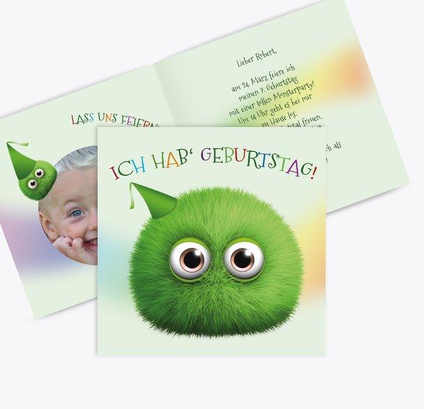 Einladung Kindergeburtstag Foto Flauschkugel