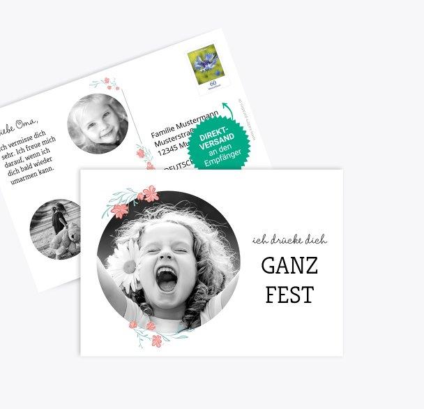 Fotopostkarte Drücke Dich Kranz