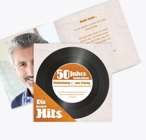 Geburtstagseinladung Schallplatte 50