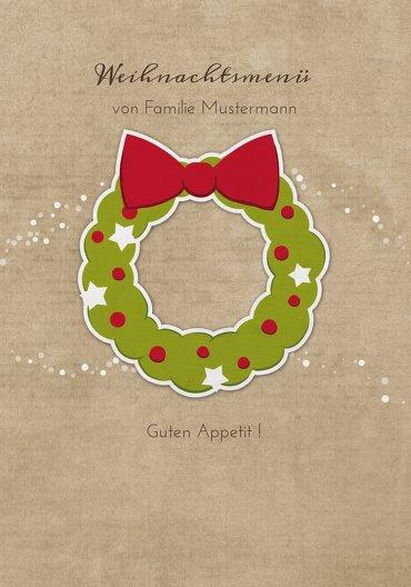 Ansicht 3 - Menükarte Weihnachtskranz