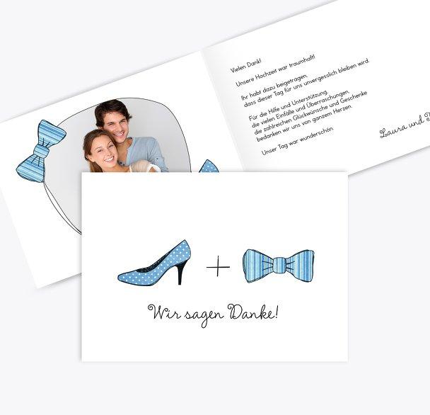 Hochzeit Dankeskarte High Heel und Fliege