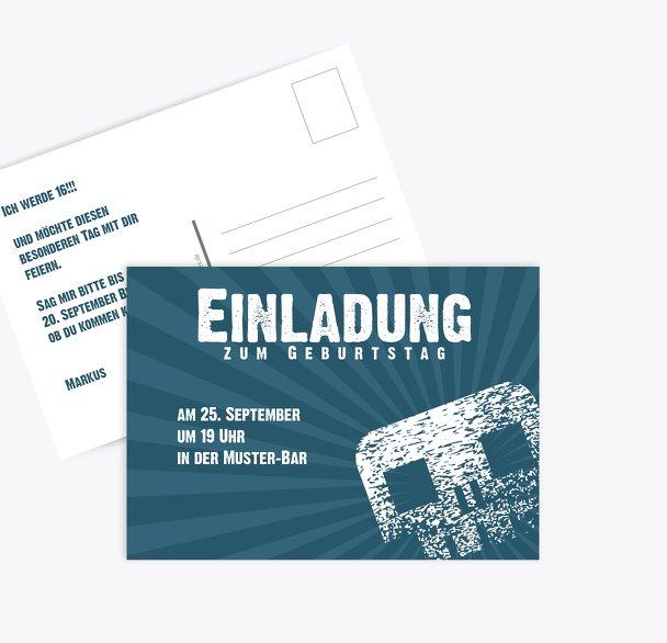 Einladungskarte zum Geburtstag für Jugendliche skully