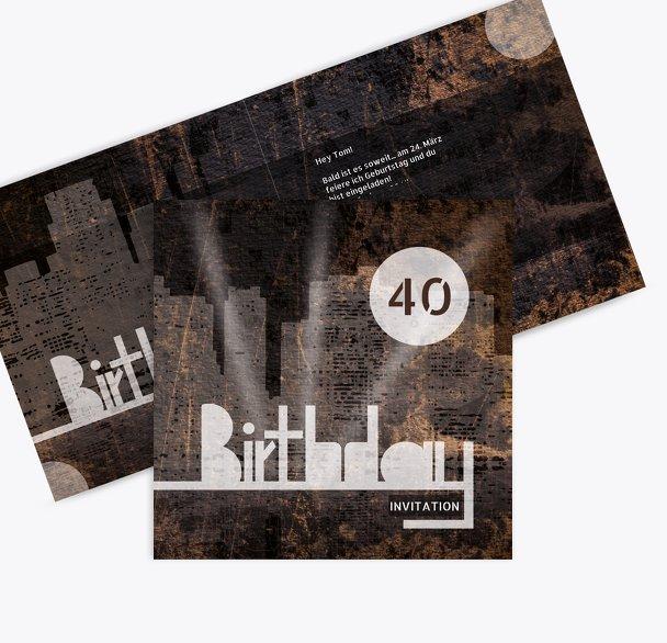 Geburtstagskarte City Lights 40