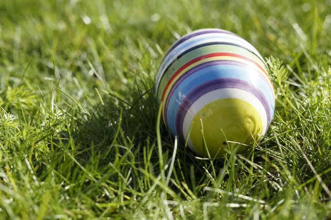 Bemaltes Osterei im Gras liegend