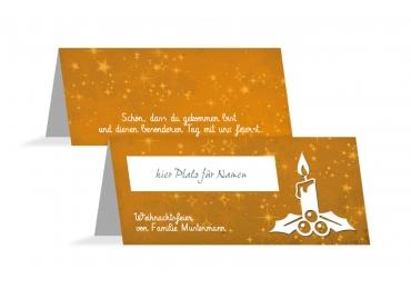 Tischkarte Advent Orange 100x44mm