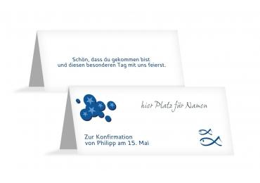 Konfirmation Tischkarte Star Blau 100x44mm