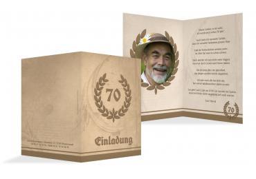 Einladungskarte Lorbeerkranz 70 Foto BeigeOrange 105x148mm