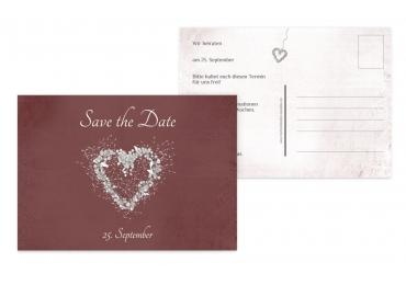 Save-the-Date glamour heart DunkelrotMatt 148x105mm
