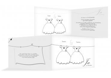 Hochzeit Einladung Dresses Weiß 148x105mm