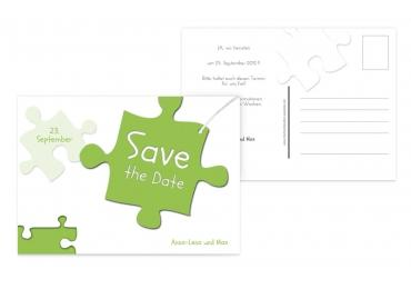 Save-the-Date Puzzleteile Grasgruen 148x105mm