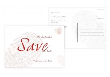 Save-the-Date fingerprint Rot 148x105mm