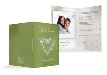 Hochzeit Einladung Glamour Heart Matschgrün 105x148mm
