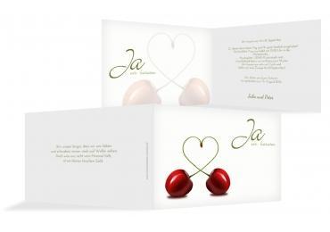 Hochzeit Einladung Kirsche ApfelGrün 148x105mm
