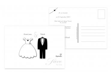 Save-the-Date dress and suit Weiß 148x105mm