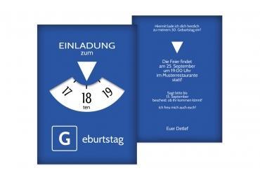 Geburtstagseinladung Parkuhr 18 Blau 105x148mm