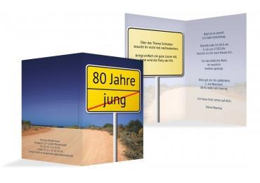 Karte Zum Geburtstag Straßenschild 80 DunkeltiefBlau 105x148mm