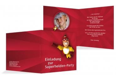 Einladung Superheld Foto Rot 145x145mm