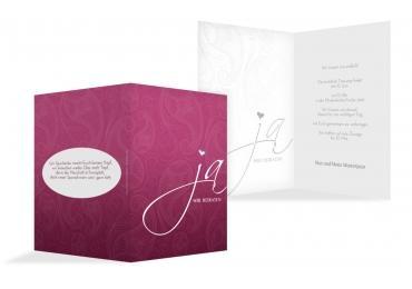 Hochzeit Einladung Traumhochzeit2 Dunkelrotlila 105x148mm