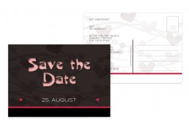 Save-the-Date wilde Herzen Lilarosa 148x105mm