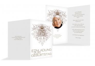 Einladungskarte Krone 75 Foto Braunmatsch 105x148mm