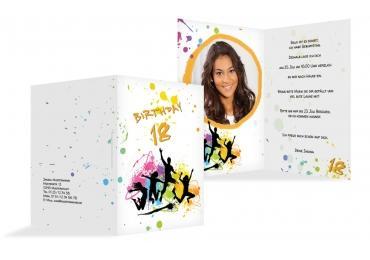 Karte 18. Geburtstag Bunte Party 18 Foto PfirsichOrange 105x148mm