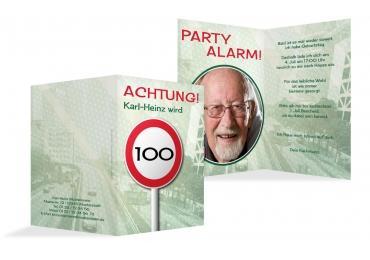 Einladung Begrenzungsschild 100 Foto DunkelGrün 105x148mm