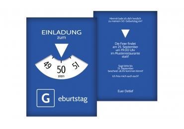 Geburtstagseinladung Parkuhr 50 Blau 105x148mm
