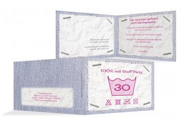 Schön Einladungskarte Waschzettel 30 Pink 148x105mm