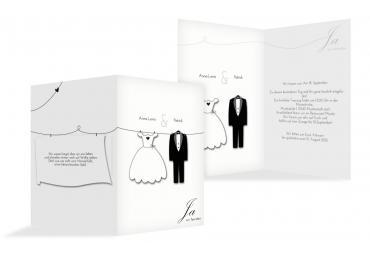 Hochzeit Einladung Dress And Suit Weiß 105x148mm