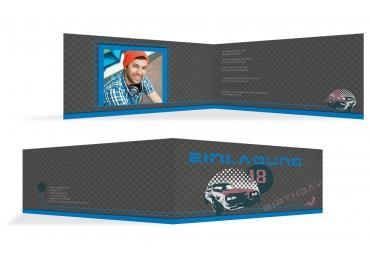 Einladung Zum 18. Geburtstag Car Foto Blau 215x105mm