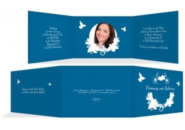 Firmkarte Vogel Blau 148x105mm