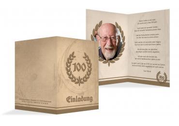 Toll Einladungskarte Lorbeerkranz 100 Foto BeigeOrange 105x148mm